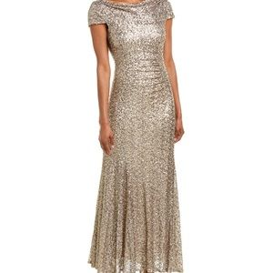 Tahari ASL sequined champagne gold gown size 12